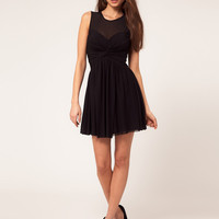 ASOS Mesh Skater Dress With Twist Front