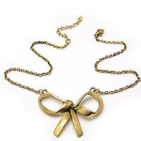 Retro Gold Ribbon Necklace from W A N D E R L U S T I N Y