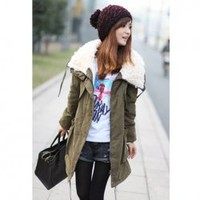 Top Quality Warm Winter Huge Collar Cotton Wadded Long Sleeve Coat  - Sammydress.com