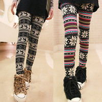 Korean Style Snowflake Pattern Printed Nine-Cent Leggings For Female  - Sammydress.com