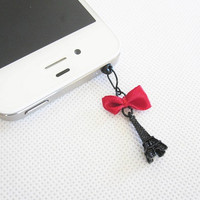 I Love Paris - Black Mini Eiffel Tower Iphone Headphone Plug/Dust Plug - Ready to Ship Iphone Accessories