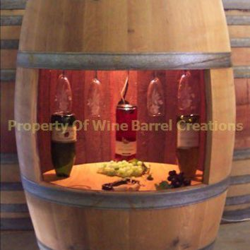 Wine Barrel Wine Cabinet Wine Glass Rack and by winebarrelcreation