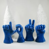 Blue Christmas Love Hands in ASL Ready to Ship by MoonlightAura