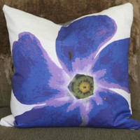 Studio Blooms Art Print Throw Pillow Periwinkle by GardenTherapy