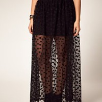 ASOS | ASOS CURVE Maxi Skirt In Mesh Spot at ASOS