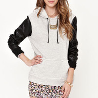 Lue French Terry Faux Leather Hoodie at PacSun.com