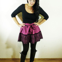 Plum/ Purple full skirt// Black lace border