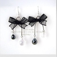 Personalized Black Lace Bow Beaded Drop Earring at online cheap fashion jewelry store Gofavor
