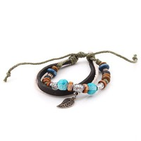 Fashion Adjustable Ethnic Silver Leaf Leather String Bracelet at online cheap fashion jewelry store Gofavor