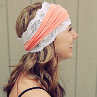 Peach and white Lace Headband