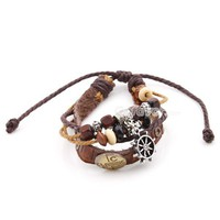 Vintage Adjustable Beaded&Rudder Leather String Bracelet at online cheap vintage jewelry store Gofavor