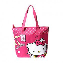 518 Cute Kitty Decorated Waterproof Shopping Bag with Dual Compartment and Zipper Closure-Pink China Wholesale - Everbuying.com