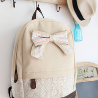 Cream Backpack with Red Floral Bow &amp; Lace-Free Shipping!