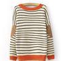 Elbow Patch Striped Sweater FS25