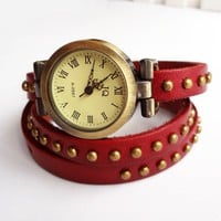 Fashion Retro Roman Red Punk Square Rivet Leather Bangle Handcrafted Bracelet Watch