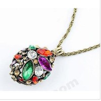Fashion Multicolor Rhinestone Pendent long Chain Necklace at online fashion store Gofavor