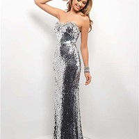 Sterling Sequin Strapless Sweetheart Low Back Prom Dress - Unique Vintage - Cocktail, Pinup, Holiday & Prom Dresses.