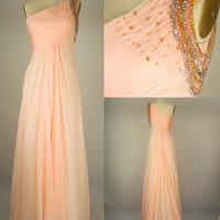 Custom Beach One-shoulder Sweep Train Chiffon Beading Long Prom/Evening/Party/Homecoming/Bridesmaid/Cocktail/Formal Dress 2013 New Arrival