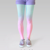 Ombre (gradient) tights pink-turquoise