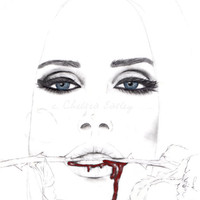 Summertime Sadness -couleur-   -- Fashion Illustration Portrait Print -- Lana Del Rey -- F R E E    shipping