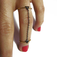Above the knuckle ring- gold filled knuckle ring- vermeil rings- set of 2- black rhodium- triangle ring- stacking rings