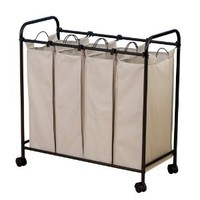 Amazon.com: Household Essentials Rolling Quad Sorter Laundry Hamper with Natural Polyester Bags, Antique Bronze Frame: Home &amp; Kitchen