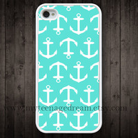 iPhone 4 Case, iphone 4s case, anchor mint green iphone 4 case, Nautical Anchor iphone 4 case, white iphone 4 case