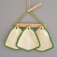 vintage hand crochet pot holders with hanger by KatyBitsandPieces
