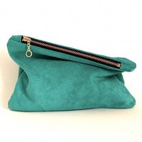 Leather mini clutch aqua blue by MarketaNewYorkShop on Etsy