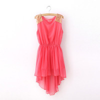 short chiffon sleeveless long vest dress waist sequin hem Bohemia dress from ClothLess