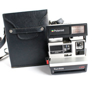 Vintage Polaroid Camera - Black & Silver 1980s Sun 600 LMS With Case / Bright Lights Photography