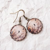 Birds on a tree - brown earrings