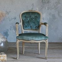 One of a Kind Vintage Arm Chair Louis XV Tufted