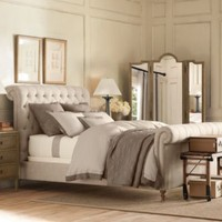 Chesterfield Upholstered Sleigh Bed | Metal Beds | Restoration Hardware