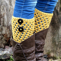 Mustarrd Short Square Knit Boot Cuffs with black button. Short Leg Warmers. Crochet Boot Cuffs. Legwear