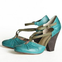 Seychelles Dolley crisscross strap heels in teal at ShopRuche.com, Vintage Inspired Clothing, Affordable Clothes, Eco friendly Fashion