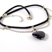 Black Jasper Heart and Silver Chains Necklace