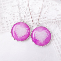 Romantic pink earrings - lace heart