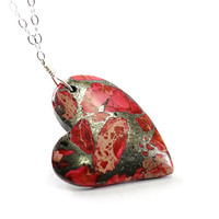 Heart necklace: love necklace natural stone, red Valentines necklace, pink jewelry gift for girlfriend wife anniversary