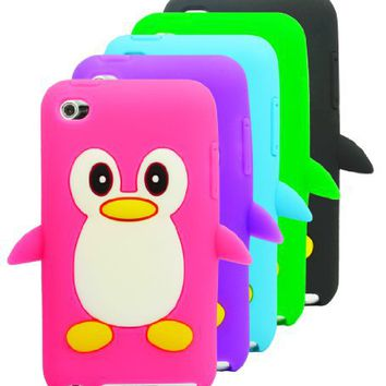 The Friendly Swede Basics - Bundle of 5 Penguin Soft Silicone Rubber Skins Covers Cases + Microfiber Cloth for Apple iPod Touch 4 4G 4th Gen
