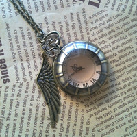 Steampunk Pocket Watch necklace with WING charm by Victorianstudio