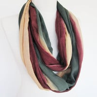 Infinity Cotton Scarf, Long Scarf, Loop Scarf, Unisex Scarf, Cowl, Headband, Green / Burgundy / Cream