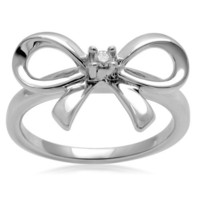 Sterling Silver Diamond Bow Ring (0.03 cttw, I-J Color, I3 Clarity), Size 7