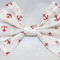 Vintage Inspired 1920s White with Red Anchors Hair Bow Clip Rockabilly Pin up Teen Woman