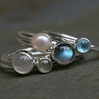 Moonlight on Water, Stacking Rings, Labradorite, Blue Topaz, Pearl, Moonstone, Stackable Rings, Sterling Silver, Stack Rings