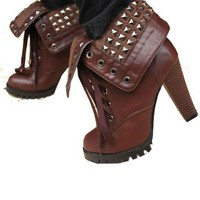 Lace Up Studded Heeled Boots