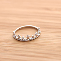 TIARA with crystals ring, in sterling silver | girlsluv.it