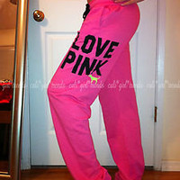 Victorias Secret PINK cute baggy loose CAMPUS lounge NEON sweat pants NWOT sz S