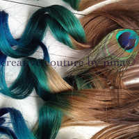 Peacock Feather Hair Extensions//Peacock Ombre//Peacock DipDye//BurningMan//Teal, Emerald Green and Blue Hair //(7) Pieces//20&quot;