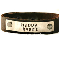 Happy Heart Bracelet...Silver...Handstamped...Modern Simple...Free Shipping